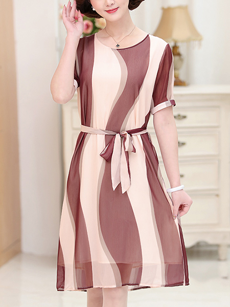 Apricot and Purple Round Neck Plus Size Chiffon Contrast Printed Band Knee Length Dress for Casual Office Party