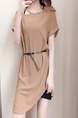Light Tan Cutout Neck Plus Size Loose Slim Asymmetrical Hem Chiffon Two-Piece Above Knee Dress for Casual Party Office