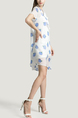 White and Blue Loose Chiffon Wave point Printed Butterfly Knot Above Knee Two-Piece Dress for Casual Party
