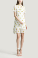 White and Yellow Loose Chiffon Wave point Printed Butterfly Knot Above Knee Two-Piece Dress for Casual Party