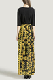 Black and Yellow Slim V Neck Placket Front Linking Contrast Printed Band Belt Furcal Maxi Dress for Party Evening Cocktail