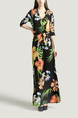 Black and Colorful V Neck Placket Front Slim Grid Printed Knitted Band Belt Maxi Floral Dress for Casual Party Beach