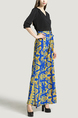 Black Blue and Yellow Slim V Neck Placket Front Linking Contrast Printed Band Belt Furcal Maxi Dress for Party Evening Cocktail