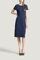 Navy Blue Round Neck Slim A-Line Knitted Stripe Knee Length Dress for Casual Party Office