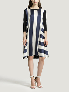 Blue White and Black A-Line Loose Round Neck Stripe Linking Contrast Knee Length Shift Dress for Casual Party Office