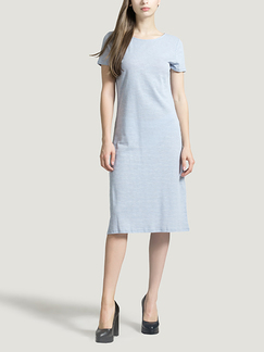 Light Blue Round Neck Slim A-Line Knitted Stripe Sheath Knee Length Dress for Casual Party Office