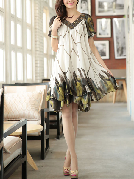 Green and White V Neck Plus Size Loose Slim Chiffon Printed Bead Two-Layered Above Knee Dress for Casual Party