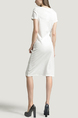 White Round Neck Slim A-Line Knitted Stripe Knee Length Dress for Casual Party Office