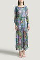 Blue and Colorful A-Line Plus Size Boat Neck Adjustable Chiffon Printed Drawstring Long Sleeves Maxi Floral Dress for Casual Beach