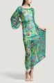Green and Colorful A-Line Plus Size Boat Neck Adjustable Chiffon Printed Drawstring Maxi Floral Dress for Casual Beach
