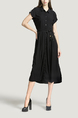 Black Plus Size Lapel Shirt Loose Slim Cardigan Single-breasted Midi Dress for Casual Office