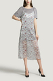 Grey and White  Round Neck T Shirt Knitted Sling Printed Two-Piece Midi Dress for Casual Party