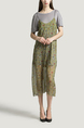 Grey and Yellow Round Neck T Shirt Knitted Sling Printed Two-Piece Dress for Casual Party