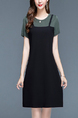 Olive Green and Black Round Neck Plus Size Slim Linking Contrast Seem-Two Knee Length Above Knee Sheath Dress for Casual Party Office Evening