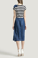 Blue White and Black Round Neck Slim Denim Stripe Linking Contrast Rhinestone Butterfly Knot Knee Length Dress for Casual Party Office
