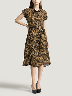 Leopard Plus Size Lapel Shirt Loose Slim Cardigan Single-breasted Knee Length Dress for Casual Party Office Evening