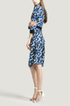 Blue and Colorful Plus Size V Neck Round Neck Linking Contrast Geometric Pattern Above Knee Dress for Casual Party Office Evening