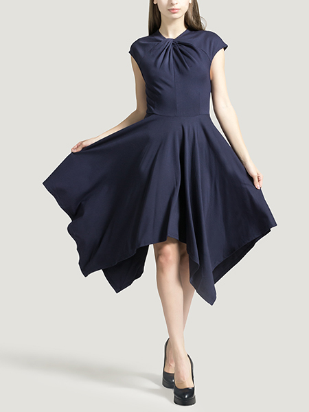 Navy Blue Slim Cowl Neck Linking Asymmetrical Hem Zipped A-Line Dress for Party Evening Cocktail Ball