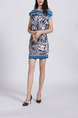 Colorful Boat Neck Plus Size Linking Elastic Printed Pocket Above Knee Dress for Casual Party Office