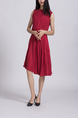 Wine red Round Neck Loose Full Skirt Linking Zipped Ruffled Knee Length Dress for Casual Office Party