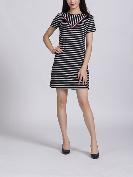 Black and White  Round Neck Slim Plus Size Linking Stripe Above Knee Shift Dress for Casual Party Office Nightclub