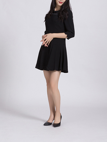 Black Round Neck Plus Size Slim A-Line Linking Zipped Butterfly Knot Above Knee Fit & Flare Dress for Casual Office Party