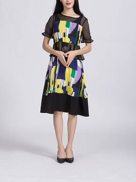 Black and Colorful Plus Size A-Line Slim Round Neck Linking Chiffon Mesh Printed Knee Length Dress for Casual Party Office