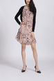 Pink And Black Above Knee Shift Long Sleeves Dress for Casual Office Party
