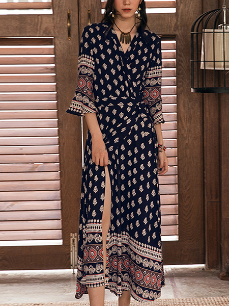 Blue Colorful Maxi Wrap Dress for Casual Beach