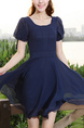 Blue Fit & Flare Round Neck Above Knee Dress for Casual Party