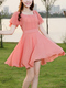 Pink Fit & Flare Round Neck Above Knee Dress for Casual Party