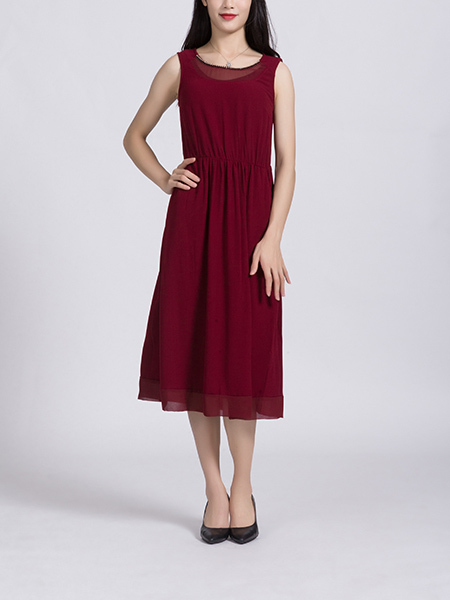 Red Midi Sleeveless Dress for Casual Party Beach