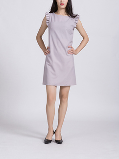 Light Purple Shift Above Knee Plus Size Dress for Casual