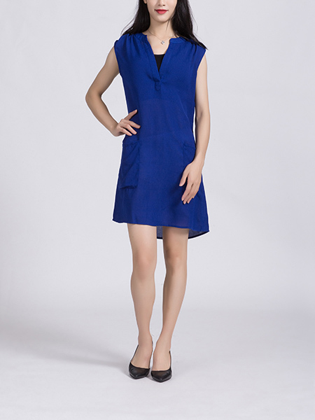 Blue Shift Above Knee Plus Size Dress for Casual Party Office
