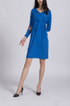 Blue Above Knee Shift Long Sleeve Plus Size Dress for Casual Party Office