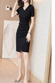 Black Sheath Above Knee Plus Size V Neck Dress for Party Evening Cocktail Office