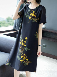 Blue Colorful Shift Midi Floral Round Neck Plus Size Dress for Casual Party