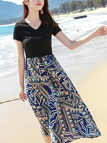 Black Colorful V Neck Fit & Flare Midi Plus Size Dress for Casual Party Beach