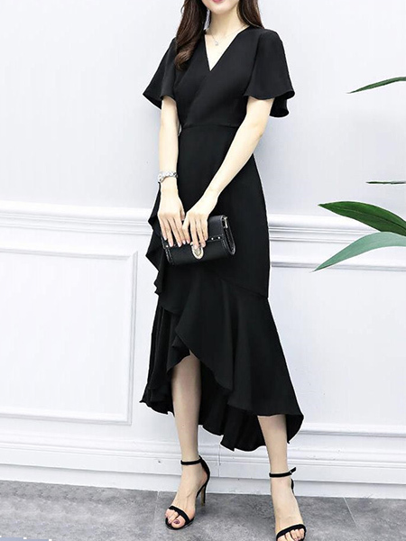 Black V Neck Sheath Midi Dress for Party Evening Cocktail