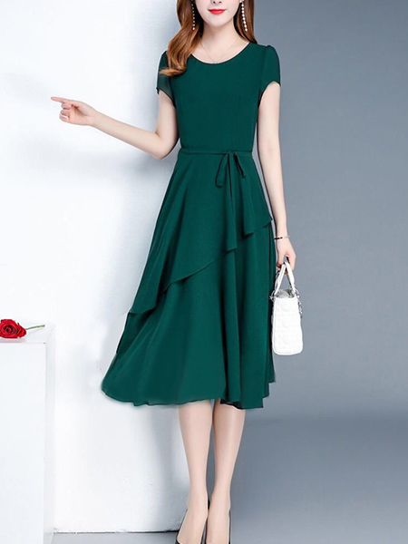 Green Fit & Flare Knee Length Plus Size Dress for Casual Party Office