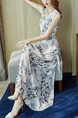 White Colorful V Neck Midi Floral Sleeveless Dress for Casual Party Beach