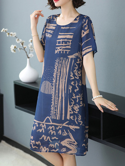 Blue Shift Knee Length Round Neck Dress for Casual Party Office