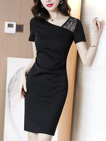 Black Sheath Above Knee Plus Size Dress for Casual Evening Party Office