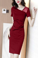 Red Sheath Above Knee Plus Size Dress for Casual Party Evening Office