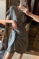 Gray Shift Above Knee Dress for Casual Party Sporty