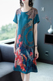 Blue Green Colorful Shift Knee Length Plus Size Round Neck Dress for Casual Party Office