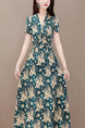 Colorful Fit & Flare Midi V Neck Floral Dress for Casual Party