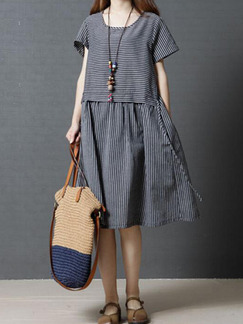 Grey Plus Size Loose Stripe Round Neck Pockets Knee Length Dress for Casual