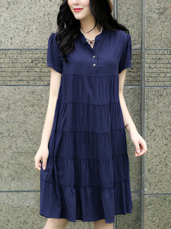 Blue Plus Size Loose A-Line Folds Stand Collar Buttons Dress for Casual