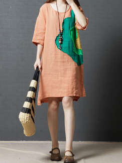Orange and Green Plus Size Loose Round Neck Located Printing Dress for Casual